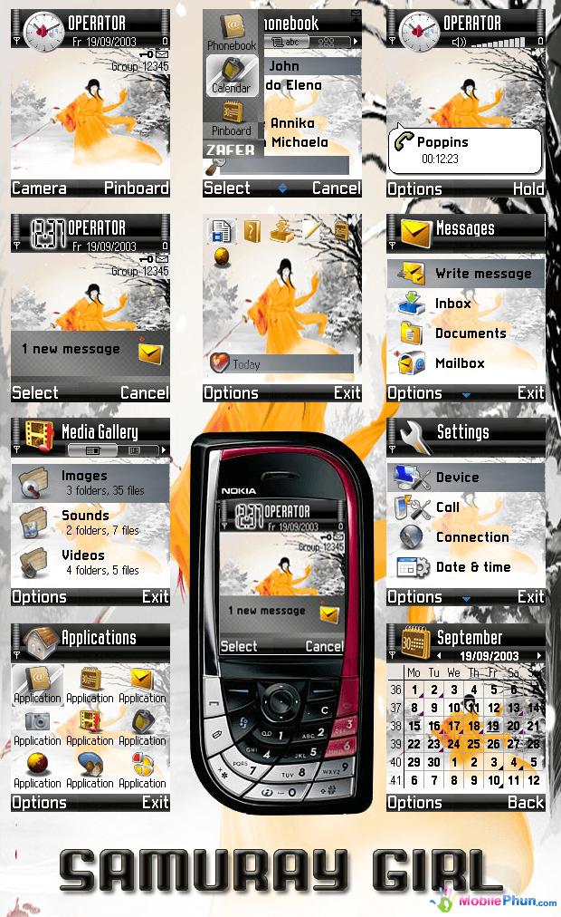 Download Samuray Girl Mobile Theme - Free Nokia Themes ...