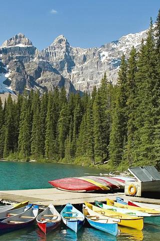 Colors Boats Mountain
