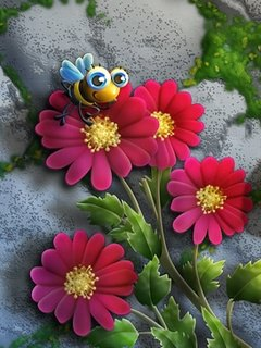 3d Flowers And Bee