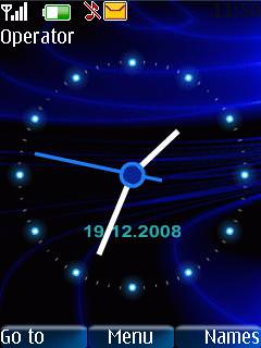 Download Blue Rays Clock 3D S40 Theme – Free Nokia Themes