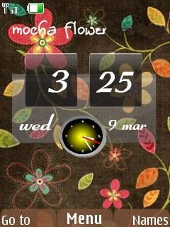 Mocha Flowers Clock