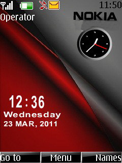 Download Red Nokia Dual Clock S40 Theme – Free Nokia Themes
