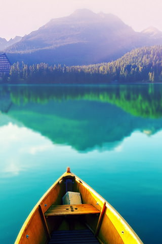 Parking-Boat-On-Peaceful-Lake-iphone-4s-wallpaper-ilikewallpaper_com